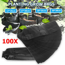 100 Pack Black PE Nursery Planting Bags Garden Grow Pots With Breathabl