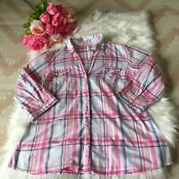 Women's, M&S, UK 14, Pink And Check Shirt, 3/4 Sleeves, Roll Tab, Pockets.