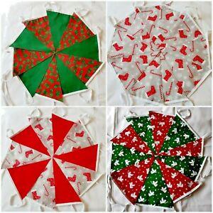 Christmas Bunting Garland Fabric Vintage Handmade Tartan