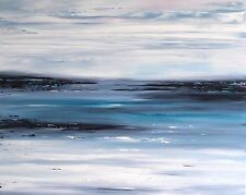 LARGE ORIGINAL SEASCAPE ABSTRACT CONTEMPORARY MODERN PAINTING 75x60cm box canvas