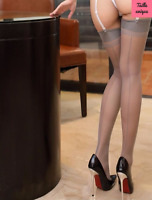 Bas couture gris pour porte-jarretelles sexy glamour pinup rétro