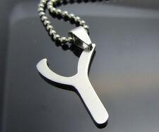 Letter Y Women/ Men's Silver 316L Stainless Steel Titanium Pendant Necklace