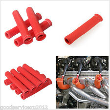 Autos Automobile 8in1 Red 1200° Spark Plug Wire Boot Heat Sleeve Protector Cover