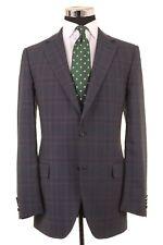 Faconnable x CARUSO Blue Glen Plaid Check Wool Sport Coat Jacket Blazer 40 L