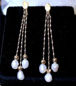 Gorgeous Vintage 14K Gold Ladies 6x Raw Pearl Stick/Stud Earrings Not Scrap