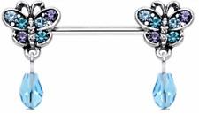 Butterfly Dangle Crystal Nipple Bar Barbell 1.6mm x 15mm
