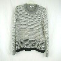 Madewell Womens Gray Cream Black Lattice Sweater Crewneck Size M Medium