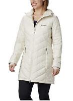 Columbia Women's Heavenly Long Hooded Jacket Coat Reflective Insulated LARGE