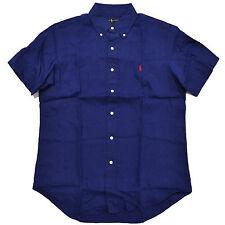 Ralph Lauren Polo Mens SS Button Down Linen Shirt Pony Logo Navy/white  Regular XL Navy
