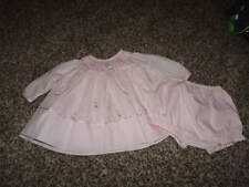 BOUTIQUE SARAH LOUISE NB NEWBORN PINK HAND SMOCKED BEADED DRESS