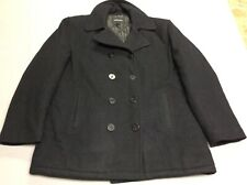 Vintage London Fog Black Wool Nylon Blend Warm Navy Peacoat Mens Size Xl