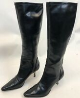 Donald J Pliner Womens Black Mid Calf High Heel Pumps Pointy Riding Boots Size 7