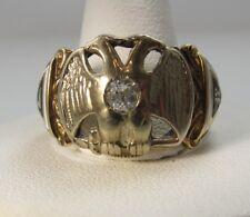 VINTAGE DOUBLE EAGLE 32ND DEGREE MASONIC RING DIAMOND 14K GOLD ENAMEL