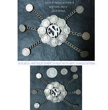 Old Argentine Gaucho belt Pampa Rastra alpaca or German silver  w/ coins