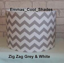 Lampshade Grey White Zig Zag 20cm Handmade Fabric Chevron Drum Nursery Baby