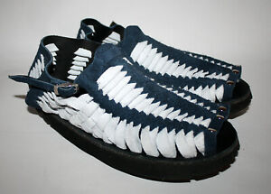 TREADS 1970s Retro Style Mens Sandals Shoes Dark Blue & White Suede Leather