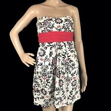 Speechless Dress 7 Teen Cream Black Red Floral tie Belt Strapless Pocket Party