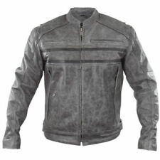 Xelement Sigma Men's Distressed Grey Leather Motorcycle Jacket - Best Offer