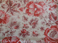 Antique French Poppy Botanical Floral  Cotton Fabric ~ Red Pink Lavender Purple