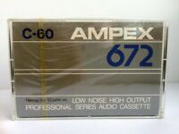 AMPEX 672 C-60 BLANK AUDIO CASSETTE TAPE NEW RARE 1985 YEAR USA MADE