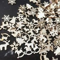 48 x Christmas party Decor Wood Ornaments Reindeer Tree Snow Flake horse