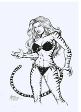 Tigra of the Avengers Original Art Sketch Pinup Drawing 11 x 17