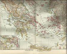 ALT-GRIECHENLAND 1923 alte Landkarte mit Ortsregister original Lithographie