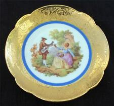 "New LIMOGES France Porcelain Gold Band FRAGONARD SERENADE SCENE 6"" Desert Plates"
