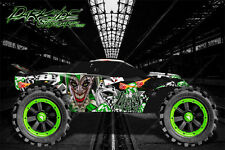"TRAXXAS RUSTLER GRAPHICS DECALS WRAP ""LUCKY"" FITS OEM BODY PARTS GREEN"