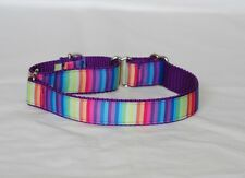 """1"""" Small (whippet) Martingale Dog Collar Vertical Stripes - Ribbon - 1o"""