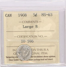 5 Cent Canada 1908 Graded by ICCS MS-63 Large 8