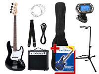Guitare Basse Electronique Bass Set Amplificateur Housse Support Corde Cable