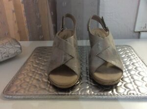 New Clarks Lafley Alaine Pewter Wedge Sandals - Size 6 - BNWOB