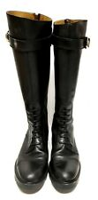 Gucci Black Leather Army Style Boots Size: 9.5B (163431)
