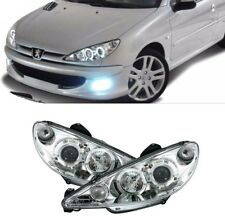 2 FEUX PHARE AVANT ANGEL EYES LED A FOND CHROME PEUGEOT 206 PHASE 2