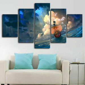 One Piece The Thousand Sunny Anime Canvas Prints Painting Wall Art Home Decor 5P