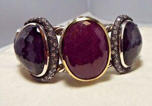 David Yurman SS & 18K Ruby, Black Orchid, Onyx & Diamond  Bracelet