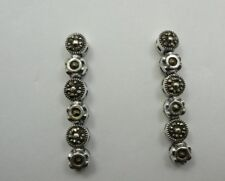"""Sterling Silver 925 Marcasite Round Dangle Stick Post Earrings 1-1/4"""" Long"""