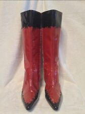 NEW** CHARLES JOURDAN Zipper Boots - 38.5 ORANGE RED BLACK FLAME PATENT LEATHER