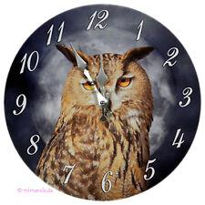 Wanduhr Bilderuhr Uhr Deko - Eule bei Nacht und Vollmond