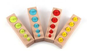 Wooden Toys Game for Toddler Children, Montessori, Cylinder Color Size Matching