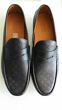 NEW Gucci 11.5 G 12.5 Black Leather Diamante Drivers Loafers Shoes 255350 Men's