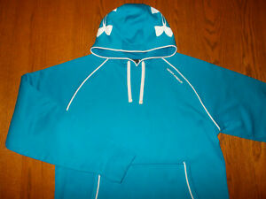 UNDER ARMOUR BLUE HOODED SWEATSHIRT MENS LARGE EXCELLENT CONDITION