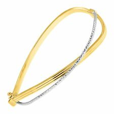 Eternity Gold Two-Tone Bypass Hinged Cuff Bracelet in 10K Two-Tone Gold