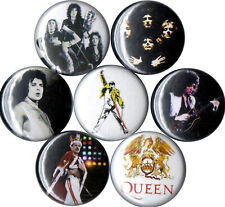 Queen 7 pins buttons band 70s classic rock glam Freddie Mercury Brian May