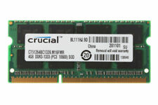 Crucial DDR3 4GB 2RX8 PC3 10600S 1333mhz 204pin Sodimm Non-ECC Laptop Memory @MT