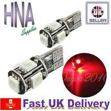 2 x 501 T10 W5W ERROR FREE CANBUS 5 SMD LED luce rossa sul lato interno del Regno Unito BMW