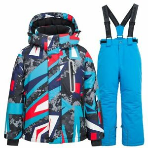 Winter Kids Ski Suit Windproof Snow Suit Girls and Boys Skiing Jacket and Pants