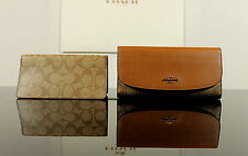 Coach F57319 Signature Trifold Checkbook Wallet Khaki/Saddle $250 Free Shipping