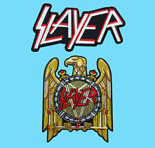 2 LOT SLAYER Golden Eagle Heavy Metal Thrash Music Embroidered Iron / Sew Patch